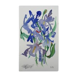 """Steve Klinkel """"Meadow Iris 1"""" Original Watercolor Painting"""
