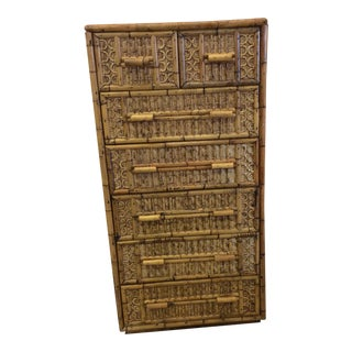 Chinese Chippendale Bamboo Tallboy Dresser