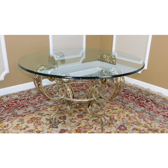 Silver chrome colored metal base glass top 42 diameter - Colored glass coffee table ...