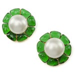 Image of Chanel Vintage Faux Pearl Gripoix Earrings