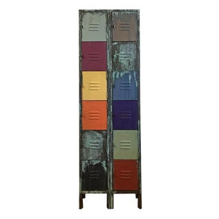 Vintage Metal Lockers With a Colorful Patina