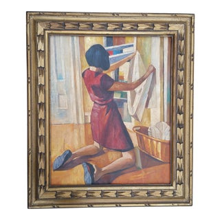 Mid-Century Girl and Laundry Oil Painting