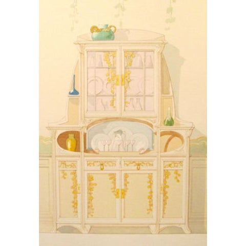 Image of Vintage French Decorator Sheet Interior/Sideboard