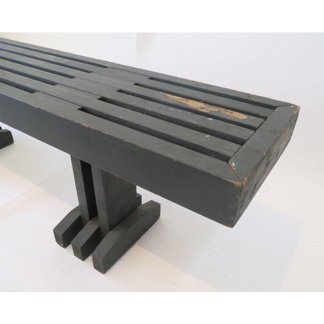 Vintage Gray Wood Slat Bench - Image 4 of 6
