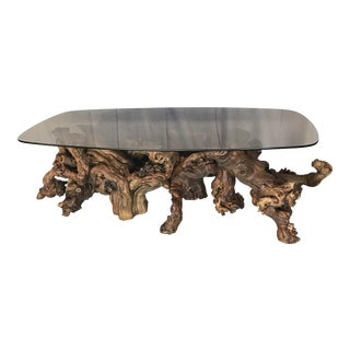 Vintage Mid-Century Driftwood Smoke Glass Coffee Table