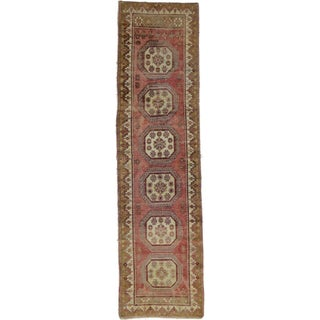 "Vintage Turkish Tribal Oushak Hand Knotted Rug- 2'5"" x 9'4"""