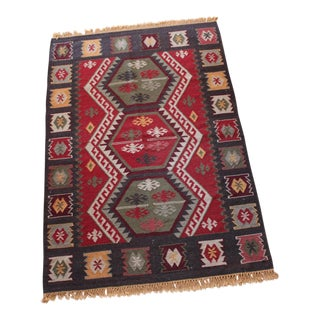 Turkish Kilim Tribal Hand Woven Rug - 4′ × 6′