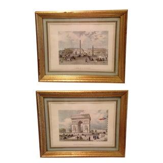 Vintage Gold Leafed Paris Prints - A Pair