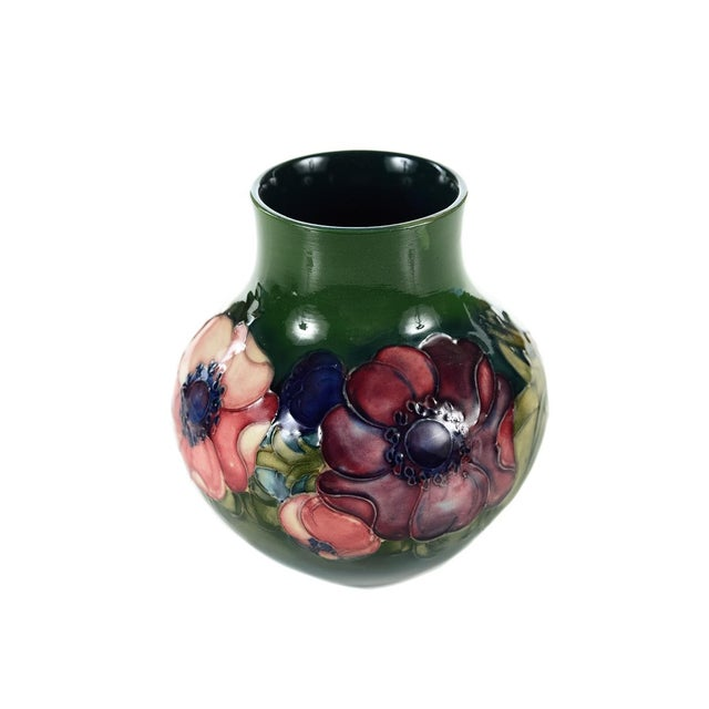 Image of Moorcroft Green & Red Floral Pottery Art Vase