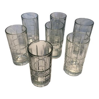 8 Vintage Anchor Hocking Crystal Plaid Highball Glasses