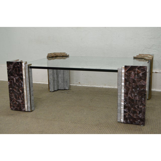 Marble Glass Top Coffee Table: Maitland Smith Tessellated Marble & Stone Glass Top Large