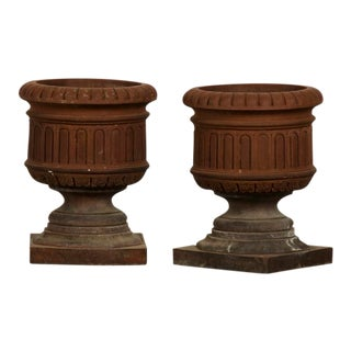 A pair of Classical terra cotta urns from a garden in Italy c.1890