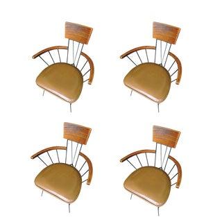 Paul McCobb Ash Iron Armchairs - Set of 4