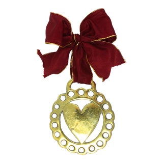 Antique English Horse Brass Heart Ornament