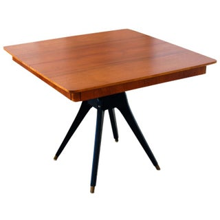 Mid-Century Teak Pedestal Square Dining Table