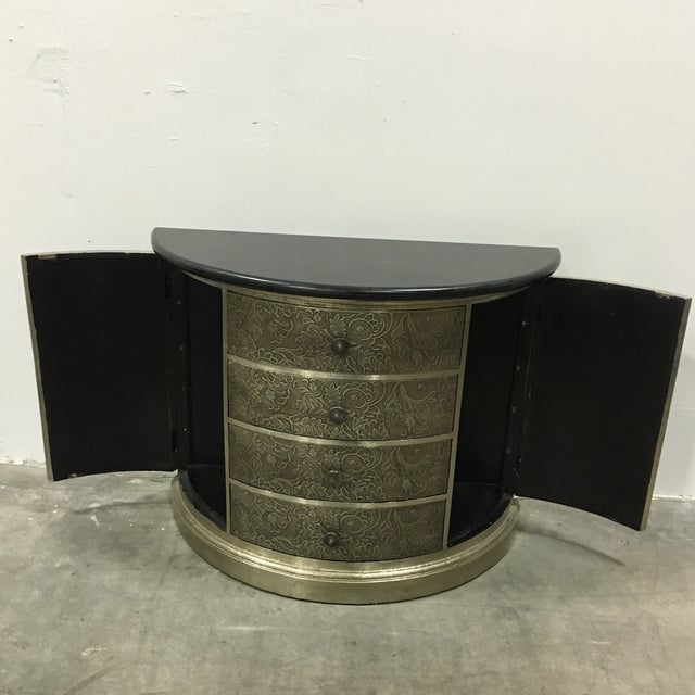 Demi-Lune Silver Metal Chest Side Table - Image 5 of 6