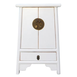 Chinese Off White End Table
