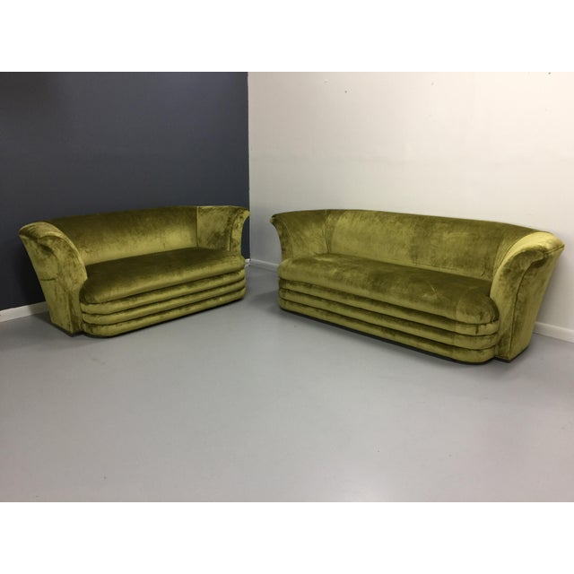 Chartreuse Art Deco Inspired Sofa & Loveseat - A Pair - Image 2 of 7