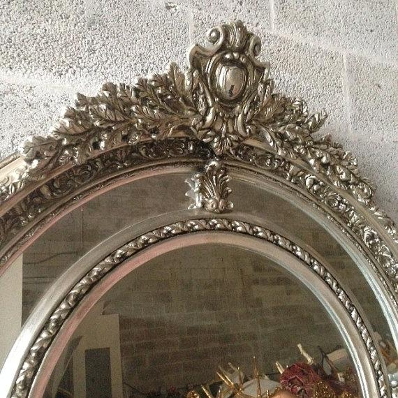 Silver French Louis XVI Style Floor Mirror - Image 3 of 4
