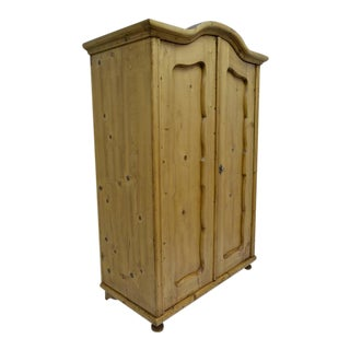 Pine Two-Door Bonnet Top Armoire