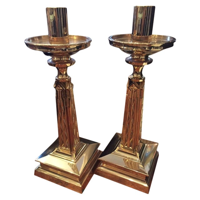 Gold Plate Bronze Candlesticks Nouveau Goth-A Pair - Image 1 of 9