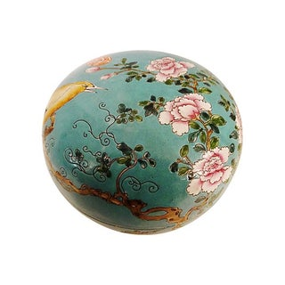 Famille Rose Turquoise Porcelain Box