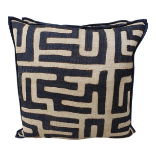 Large Square African Kuba Cloth Pillows - Pair
