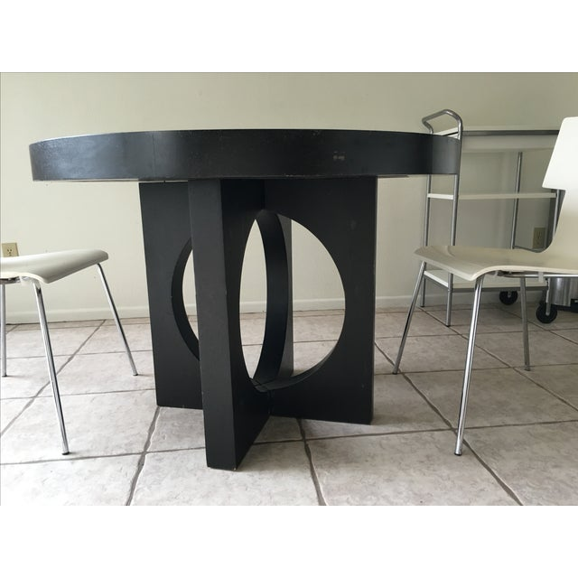 west elm black round cut out dining table chairish. Black Bedroom Furniture Sets. Home Design Ideas