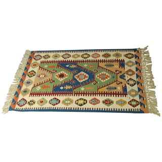 Vintage Geometric Turkish Kilim Rug - 3′8″ × 5′2″
