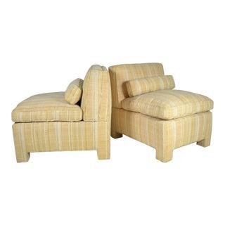 Pair of Modern Upholstered Slipper Chairs, circa 1960s