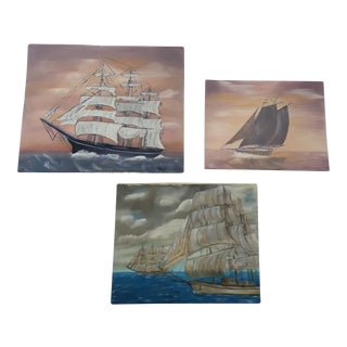 Vintage Boat Seascape Oil Paintings - Set of 3