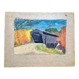 1920 Pastel Bridge Drawing