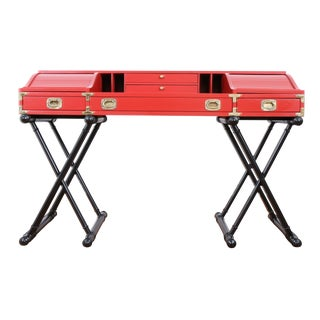 Red Hollywood Regency Campaign Executive Desk