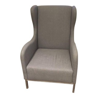 CB2 Oyster Grey Study Wingback Chair
