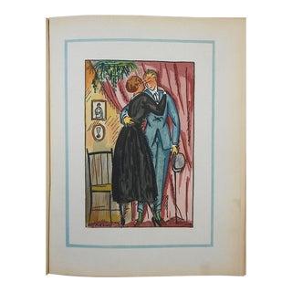 """Vintage Ltd. Ed. Pochoir Image By Guy Arnoux""""Les Femmes De Ce Temps""""-The Consoling Woman-France-1920"""