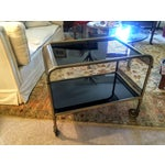 Image of Mid-Century Brass & Black Glass Bar Cart