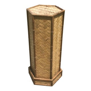 Woven Bamboo Pedestal Plant Stand
