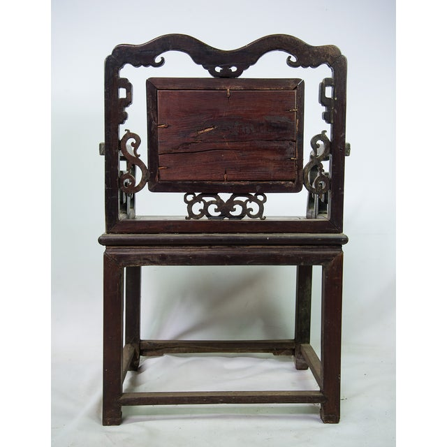 Antique Chinese Marble & Carved Rosewood Chair - Image 9 of 11 - Antique Chinese Marble & Carved Rosewood Chair Chairish