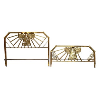 Ornate Brass Peacock Twin Size Headboard Set