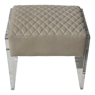 Modern Leather and Lucite Vanity Bench