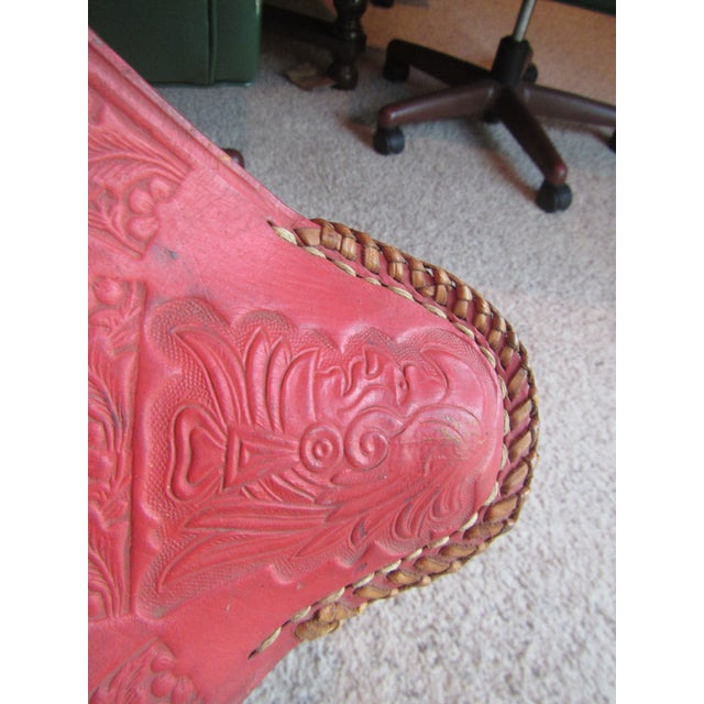 Vintage Mexican Craft Mid Century Red Leather Stool - Image 6 of 11
