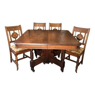 Vintage Walnut Table & Chairs - Set of 5