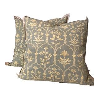 Katherine Ireland Seafoam & Light Yellow Pillows - A Pair