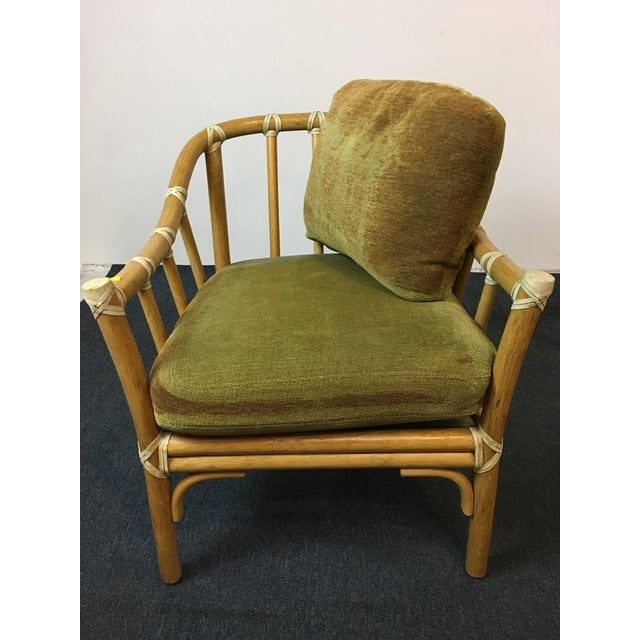 Vintage Bamboo Armchairs & Ottoman - Set of 3 - Image 6 of 9
