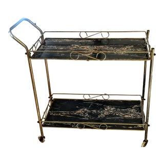 Mid-Century Modern Brass & Marble Rolling Bar Cart