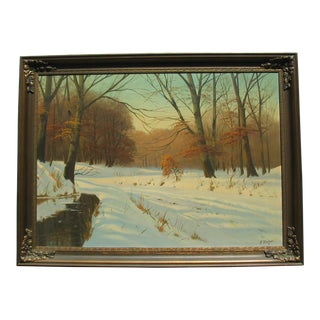 Snow Covered Road Oil Painting by Harald Wentzel