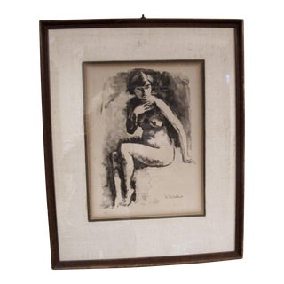 Vintage Framed Nude Woman Lithograph
