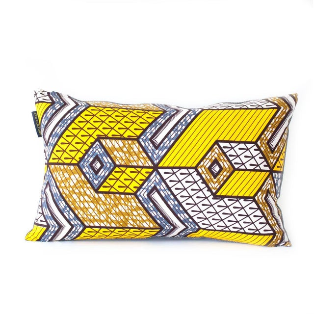 Image of Yellow Wax Print Rectangular Pillow Cover