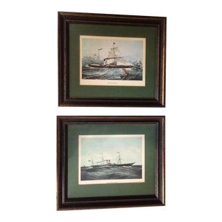 Framed Victorian Steamship Prints - A Pair