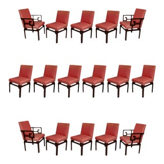 "Set of 16 American Modern Mahogany ""Far East"" Dining Chairs, Michael Taylor"